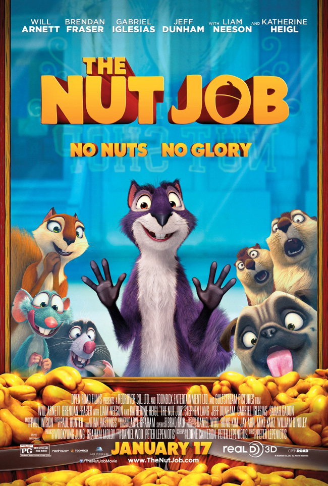 The movie poster for The Nut Job starring Will Arnett and Katherine Heigl