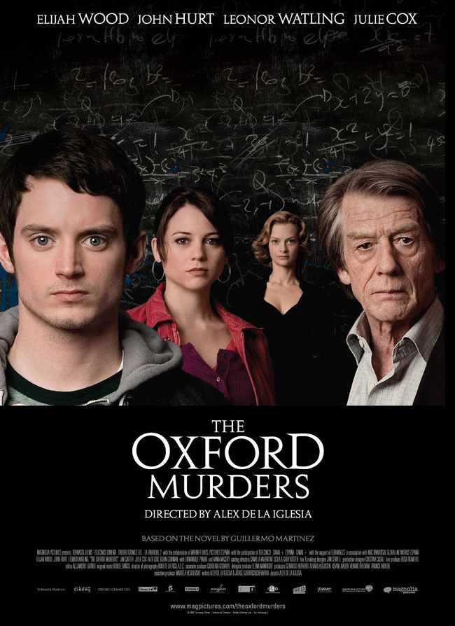 The movie poster for The Oxford Murders with Elijah Wood and John Hurt