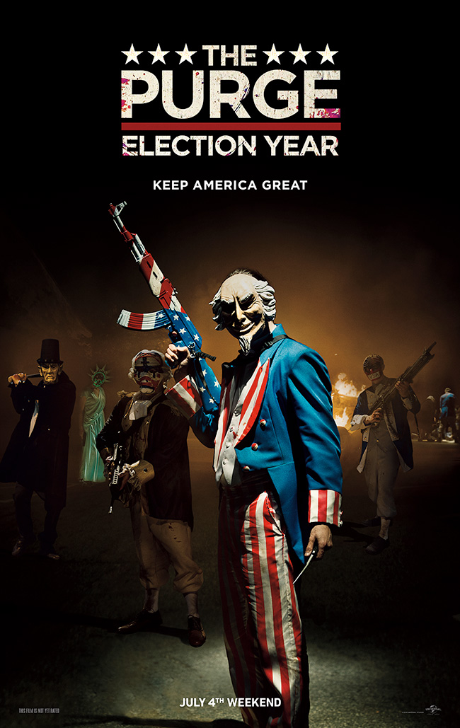 The movie poster for The Purge: Election Year starring Frank Grillo and Elizabeth Mitchell