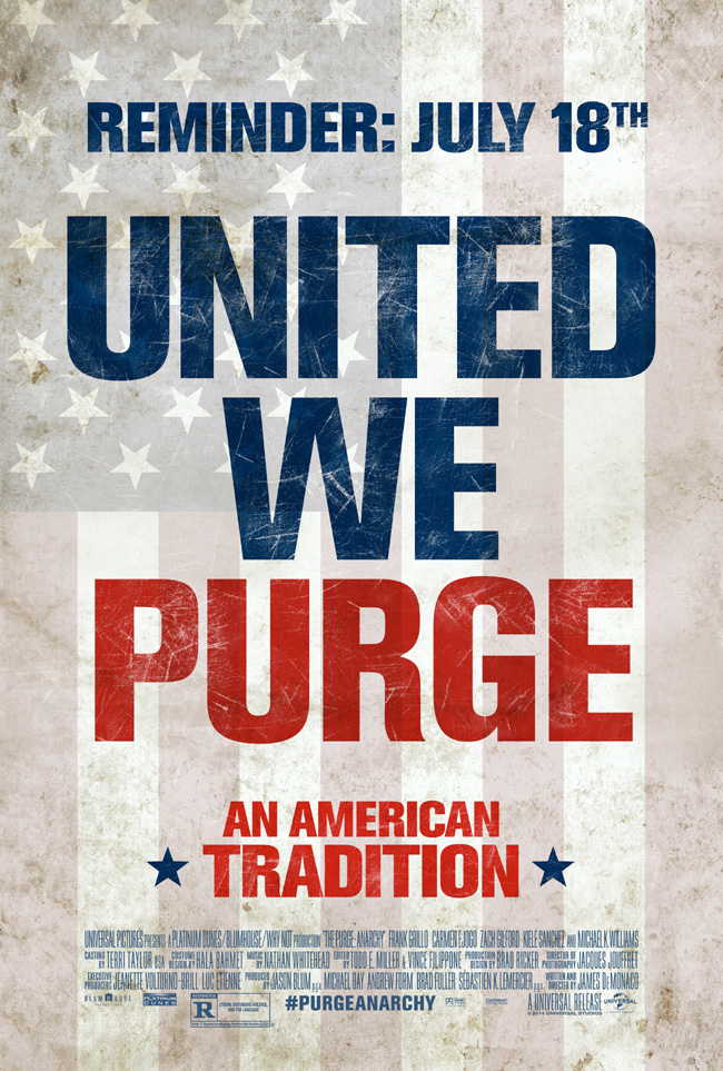 The movie poster for The Purge: Anarchy starring Frank Grillo and Carmen Ejogo