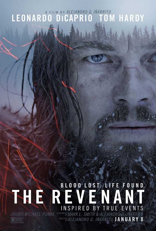 The movie poster for The Revenant starring Leonardo DiCaprio and Tom Hardy