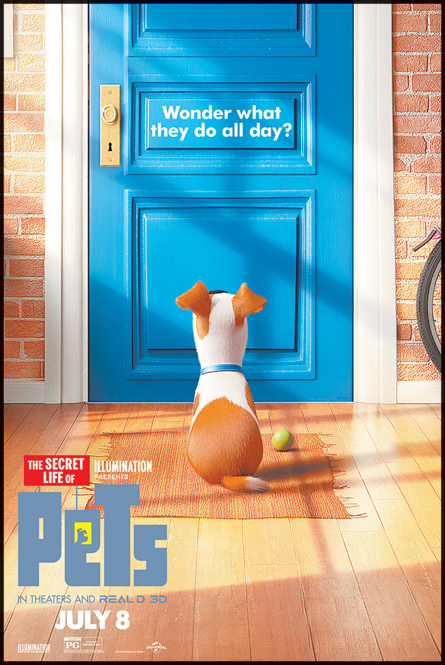 The movie poster for The Secret Life of Pets starring Kevin Hart and Lake Bell