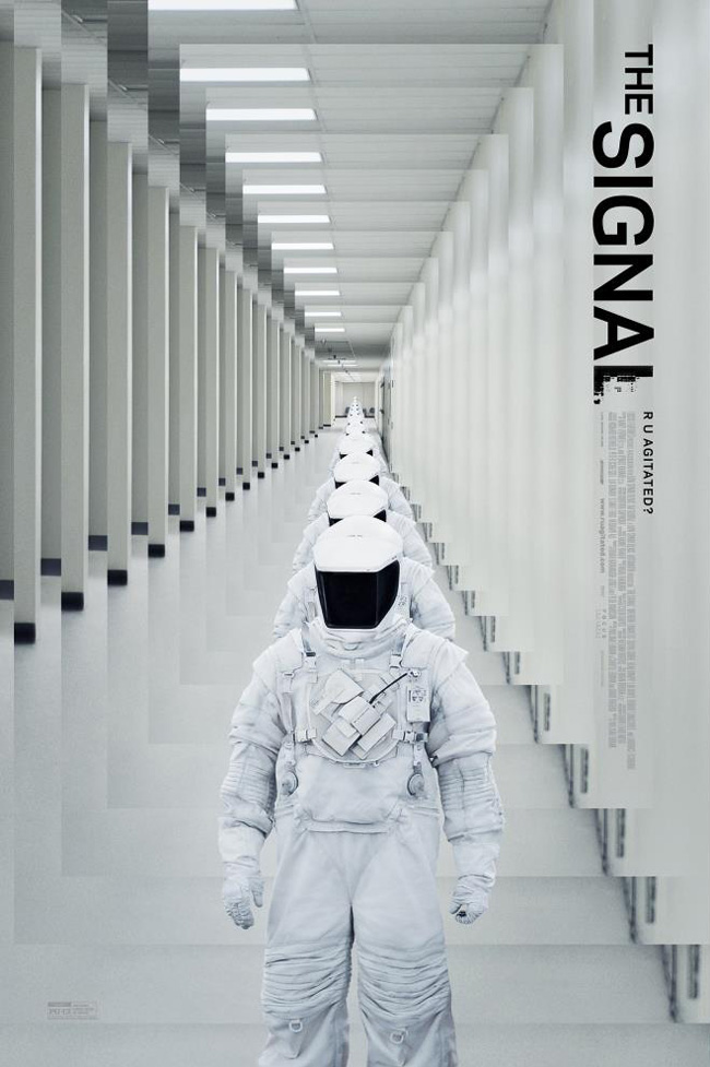 The movie poster for The Signal starring Brenton Thwaites and Laurence Fishburne