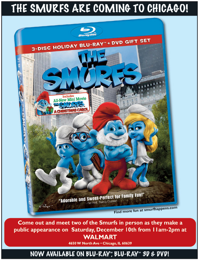 The Smurfs live appearance in Chicago on Dec. 10, 2011 at Walmart
