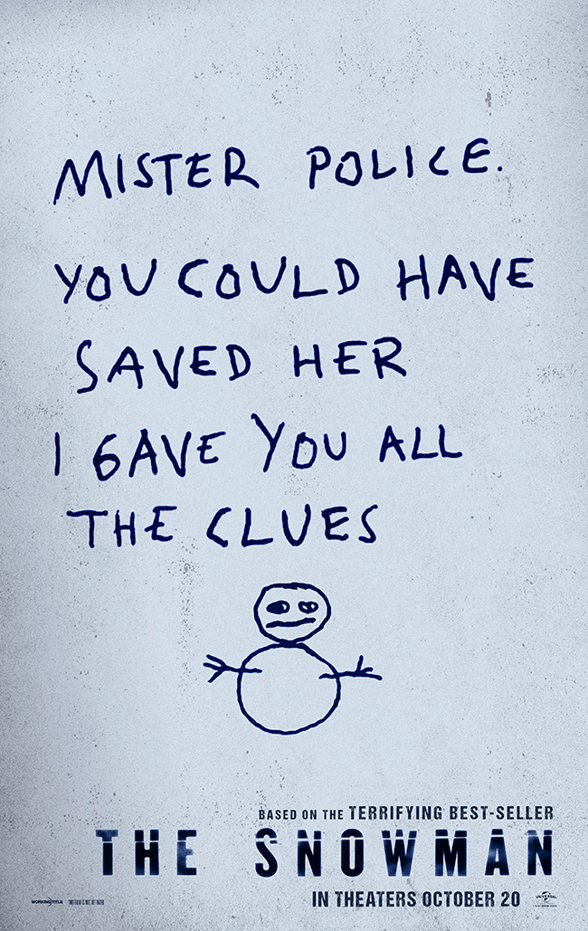 The movie poster for The Snowman with Michael Fassbender