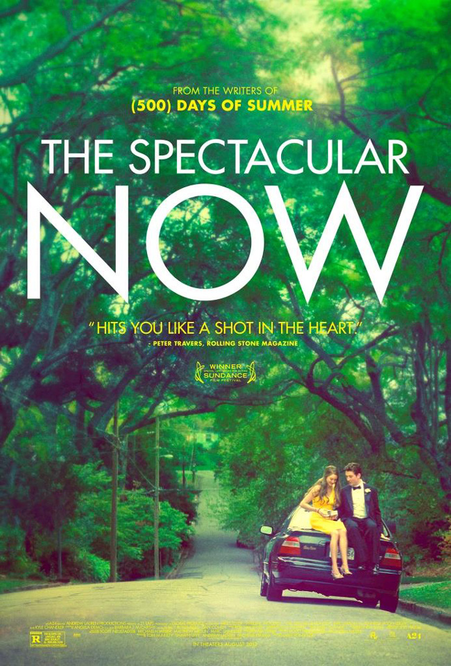 The movie poster for The Spectacular Now starring Miles Teller and Shailene Woodley