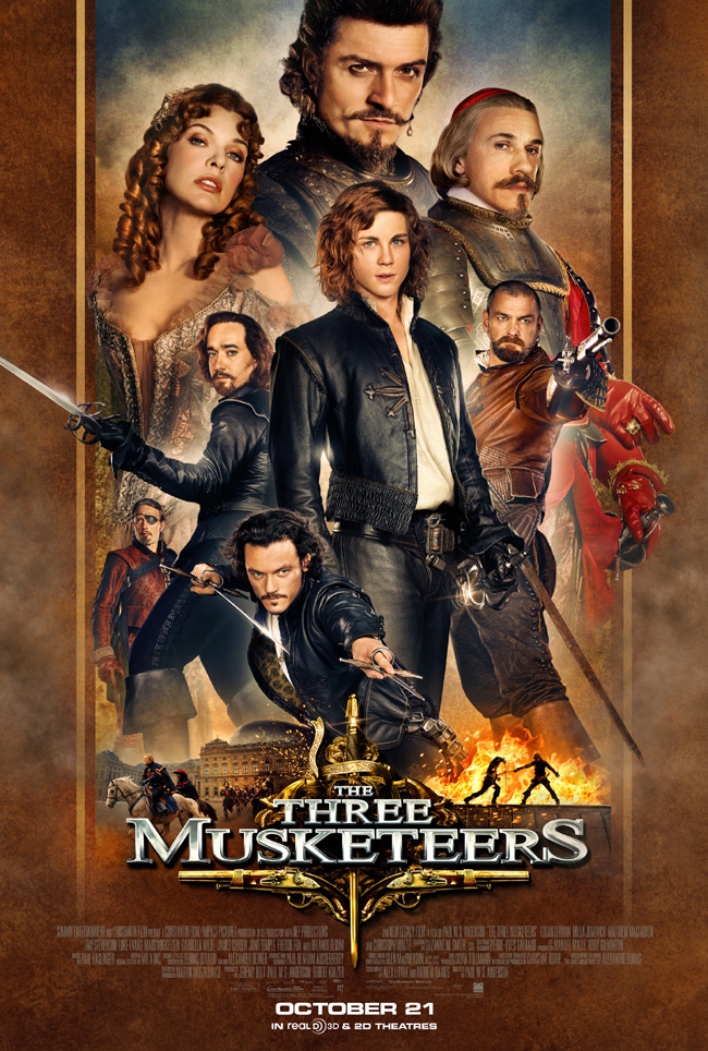 The movie poster for The Three Musketeers with Milla Jovovich and Orlando Bloom