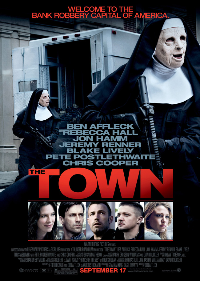 The movie poster for The Town with Ben Affleck and Jon Hamm