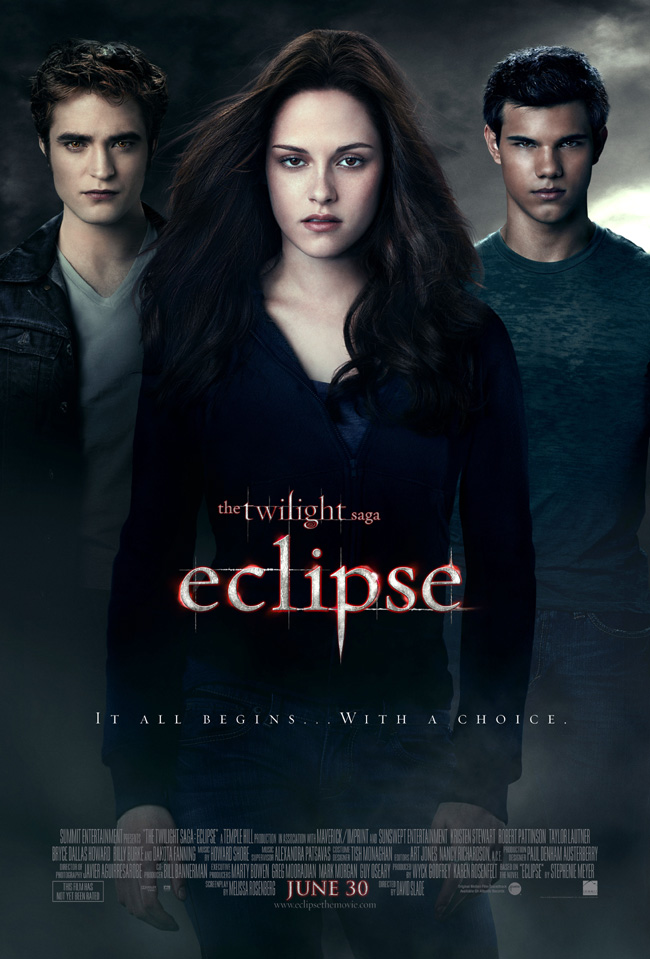 The movie poster for The Twilight Saga: Eclipse with Robert Pattinson and Kristen Stewart