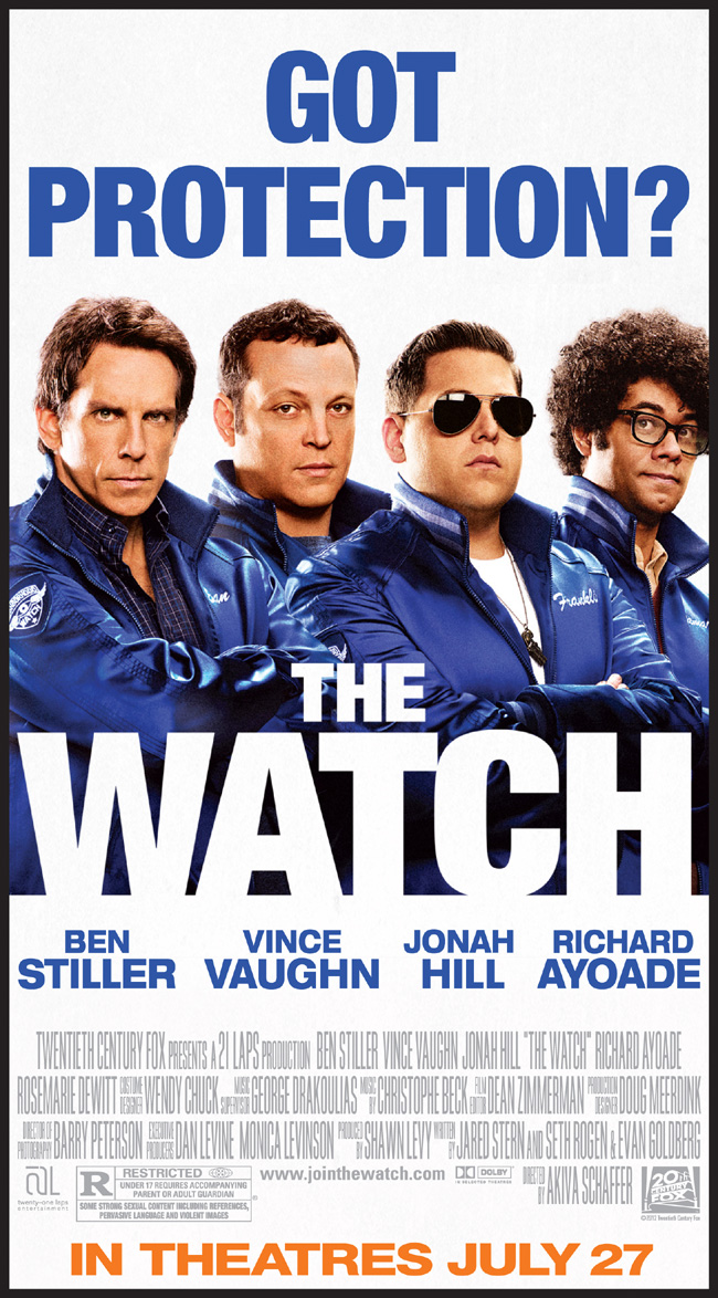 The Watch movie poster with Ben Stiller and Vince Vaughn from writer Seth Rogen