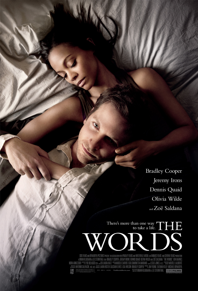 The movie poster for The Words starring Bradley Cooper, Zoe Saldana and Olivia Wilde