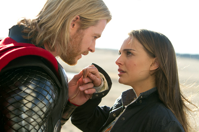 Chris Hemsworth (left) and Natalie Portman in Thor
