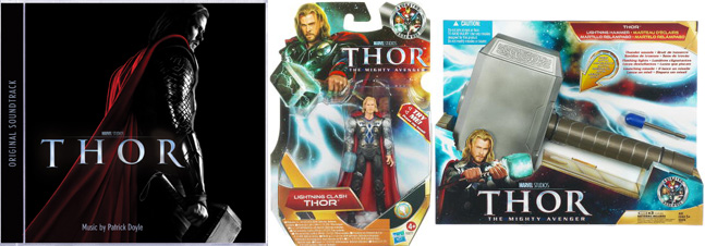 From left to right: Thor soundtrack, Thor action figure and Thor hammer
