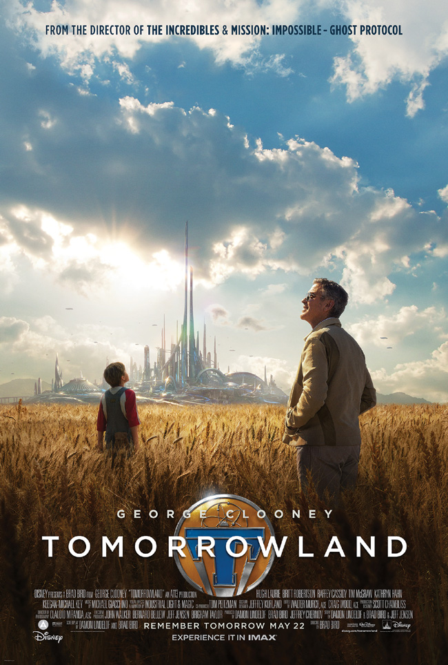 The movie poster for Tomorrowland starring George Clooney, Hugh Laurie, Kathryn Hahn and Judy Greer