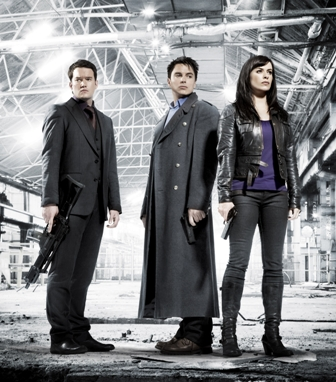 (l to r) Ianto (Gareth David-Lloyd), Captain Jack (John Barrowman) and Gwen Cooper (Eve Myles).