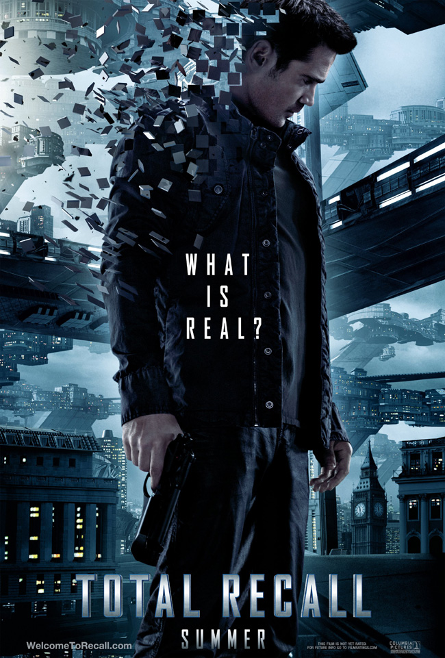 The Total Recall movie poster with Colin Farrell, Kate Beckinsale and Jessica Biel