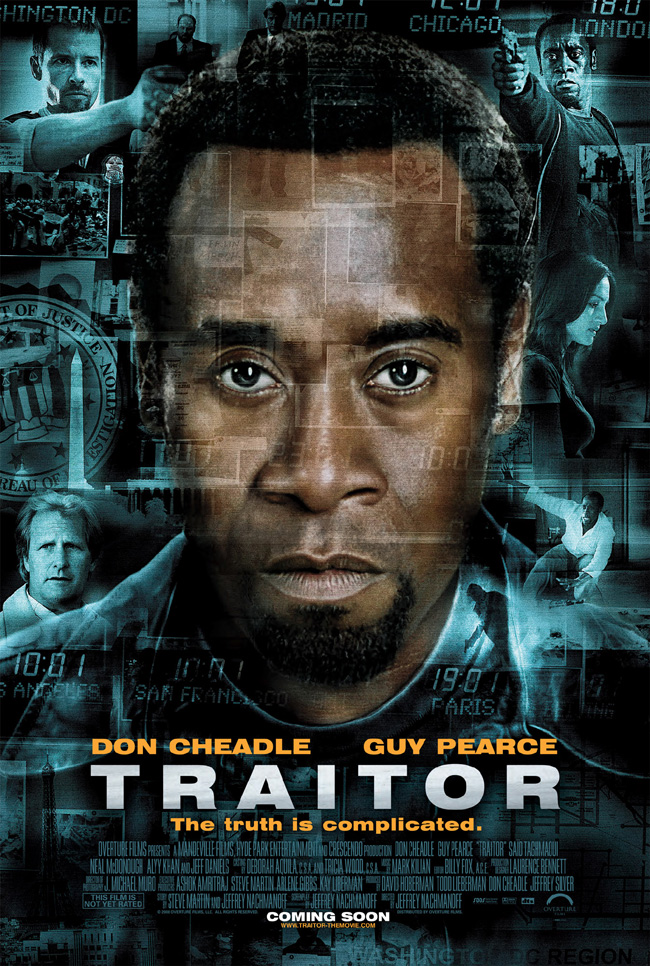 Traitor features Don Cheadle, Guy Pearce, Jeff Daniels and Neal McDonough