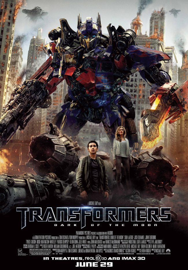 The movie poster for Transformers: Dark of the Moon with Shia LaBeouf and Rosie Huntington-Whiteley