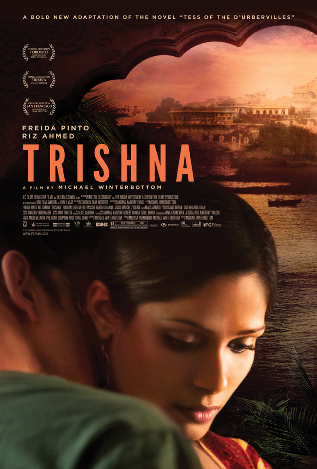 The Trishna movie poster with Freida Pinto and Riz Ahmed
