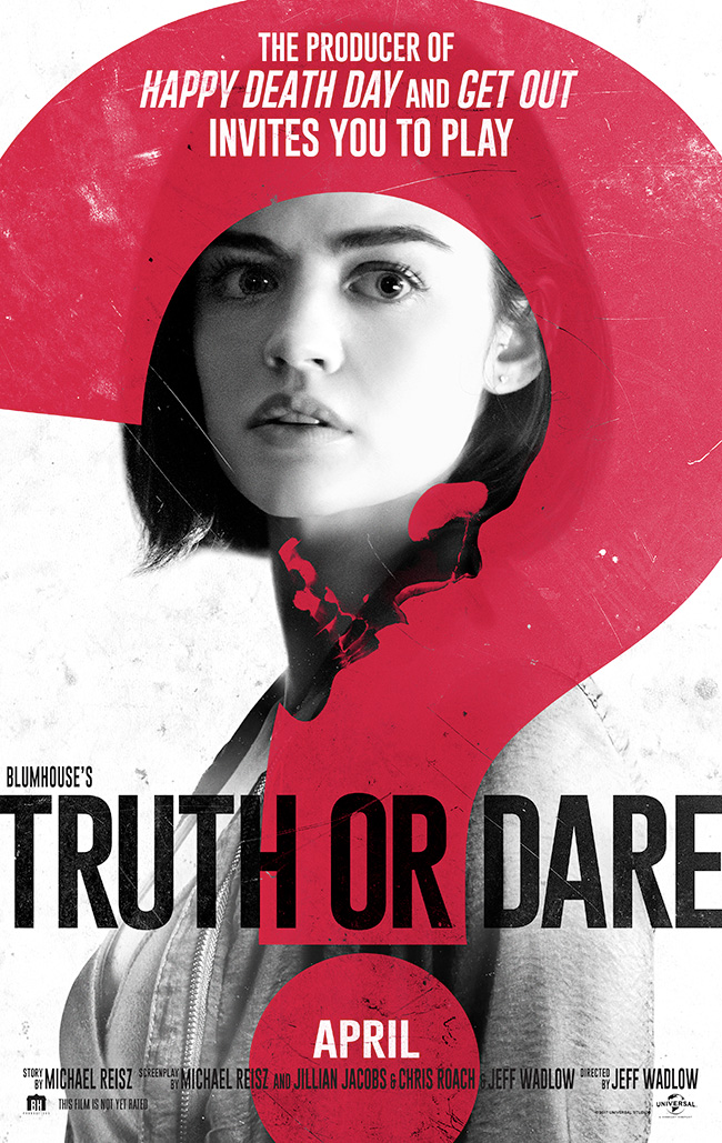 The movie poster for Blumhouse's Truth or Dare from the producer of Get Out