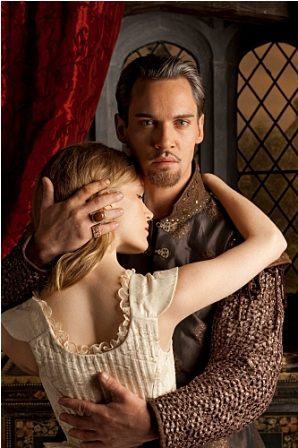 Tamzin Merchant as Katherine Howard and Jonathan Rhys Meyers as Henry VIII in The Tudors