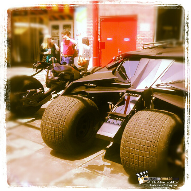The official The Dark Knight Rises Tumbler (right) and Bat-Pod (left) at Chicago's Navy Pier on May 25, 2012 for the Tumbler Tour