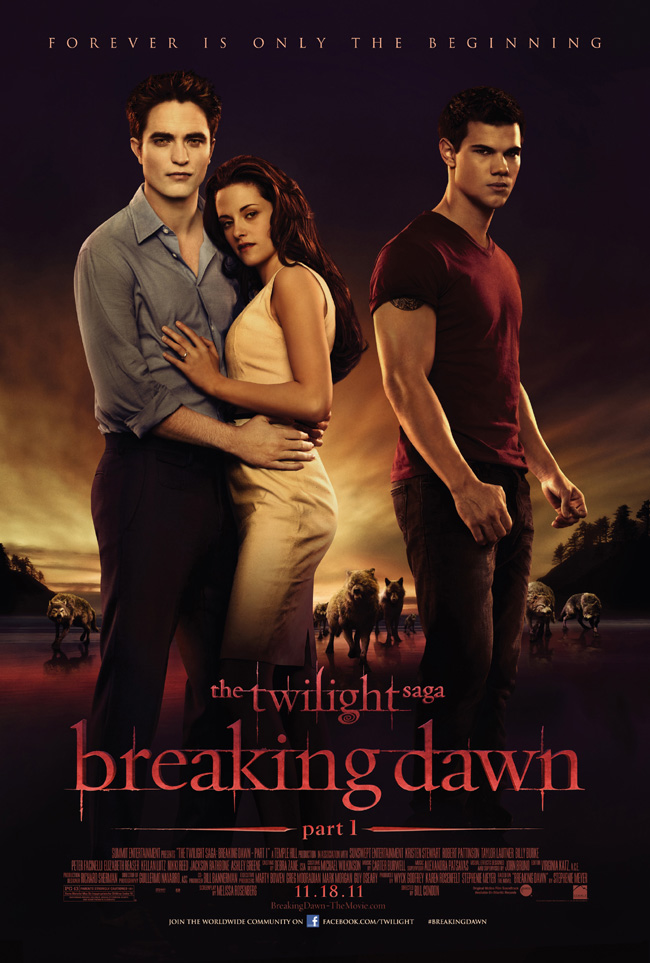The movie poster for The Twilight Saga: Breaking Dawn -- Part 1 with Kristen Stewart and Robert Pattinson
