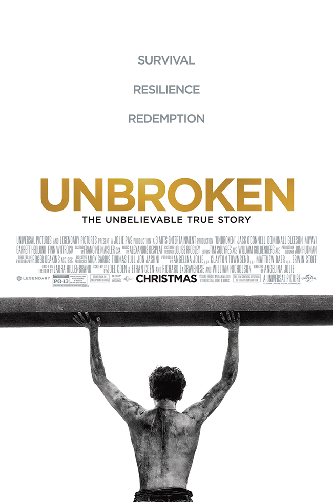 The movie poster for Unbroken from director Angelina Jolie and writers Joel and Ethan Coen