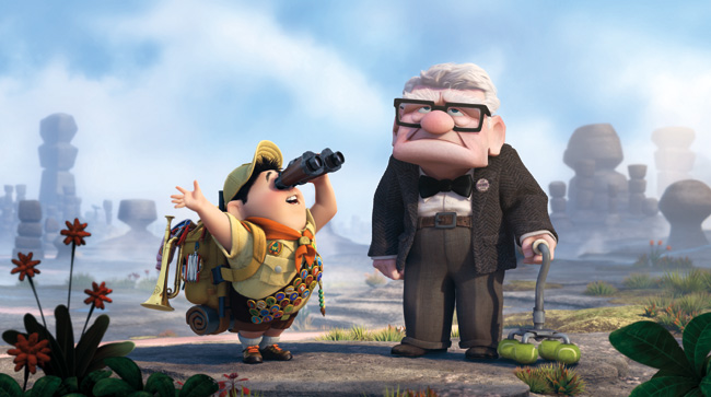 Russell (voice of Jordan Nagai) and Carl Fredricksen (voice of Edward Asner) in Up