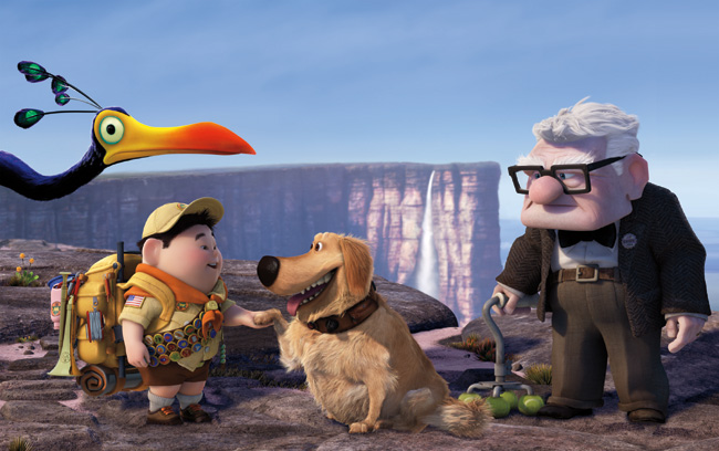 Left to right: Kevin, Russell, Dug and Carl Fredricksen (voice of Edward Asner) in Up