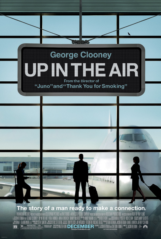 The movie poster for Up in the Air with George Clooney