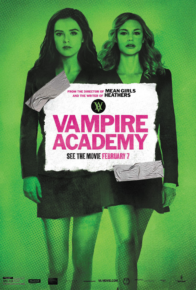 The movie poster for Vampire Academy starring Zoey Deutch and Lucy Fry from the director of Mean Girls