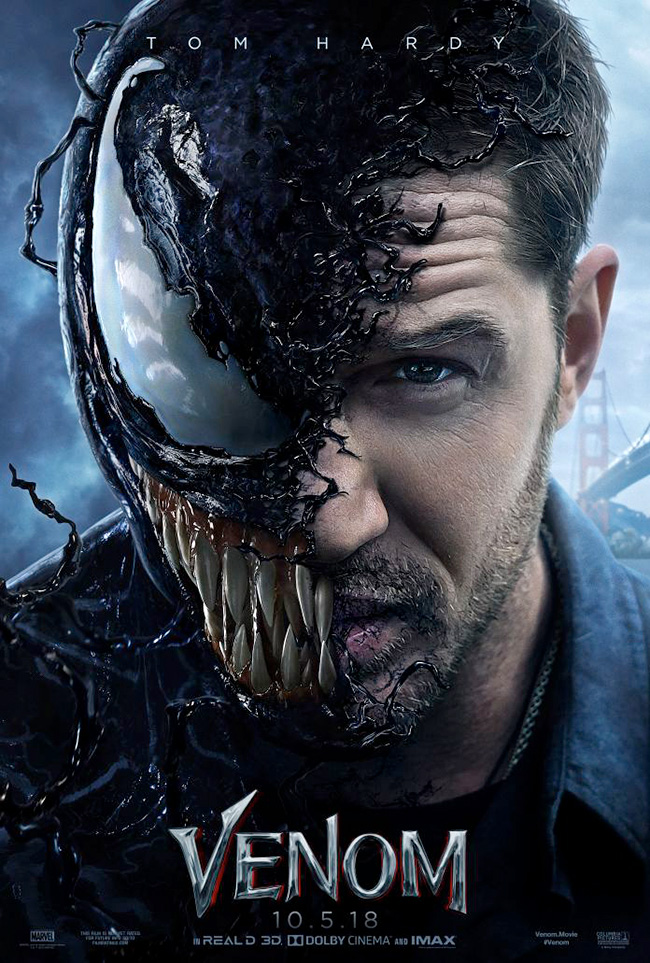 The movie poster for Venom starring Tom Hardy