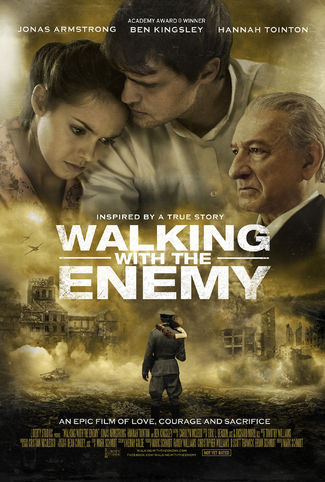 The movie poster for Walking With the Enemy starring Ben Kingsley and Jonas Armstrong