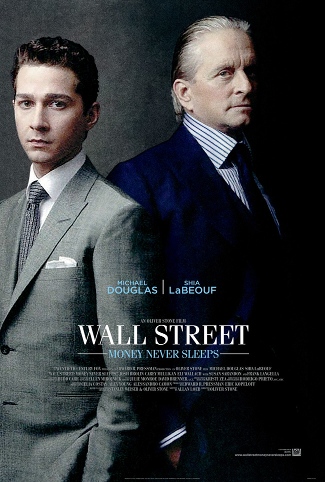 The movie poster for Wall Street: Money Never Sleeps with Michael Douglas and Shia LaBeouf