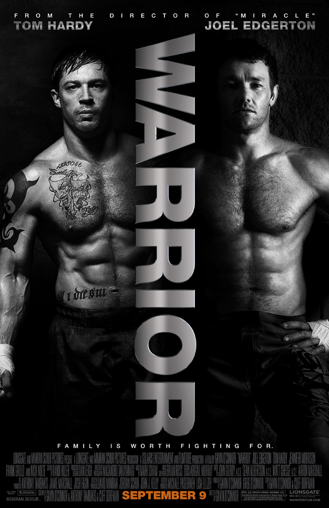 The movie poster for Warrior with Nick Nolte, Tom Hardy and Joel Edgerton
