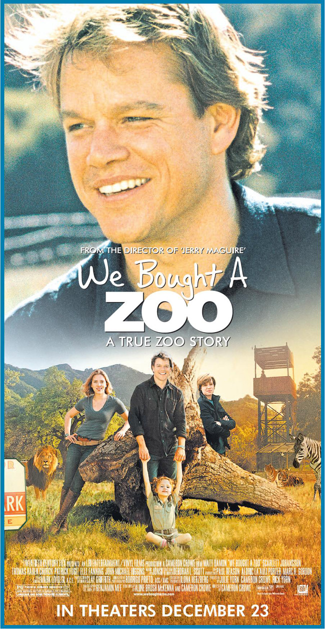 The movie poster for We Bought a Zoo with Matt Damon and Scarlett Johansson