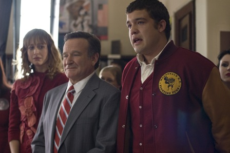 Alexie Gilmore, Robin Williams, and Zach Sanchez in WORLD'S GREATEST DAD, a Magnolia Pictures release.