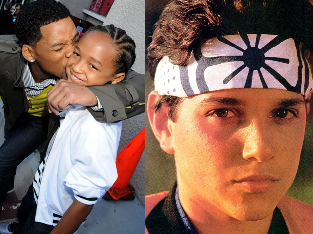 Left image: Will Smith and Jaden smith; right: Ralph Macchio in 1984's The Karate Kid