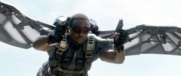 Anthony Mackie as Sam Wilson/Falcon in Captain America: The Winter Soldier