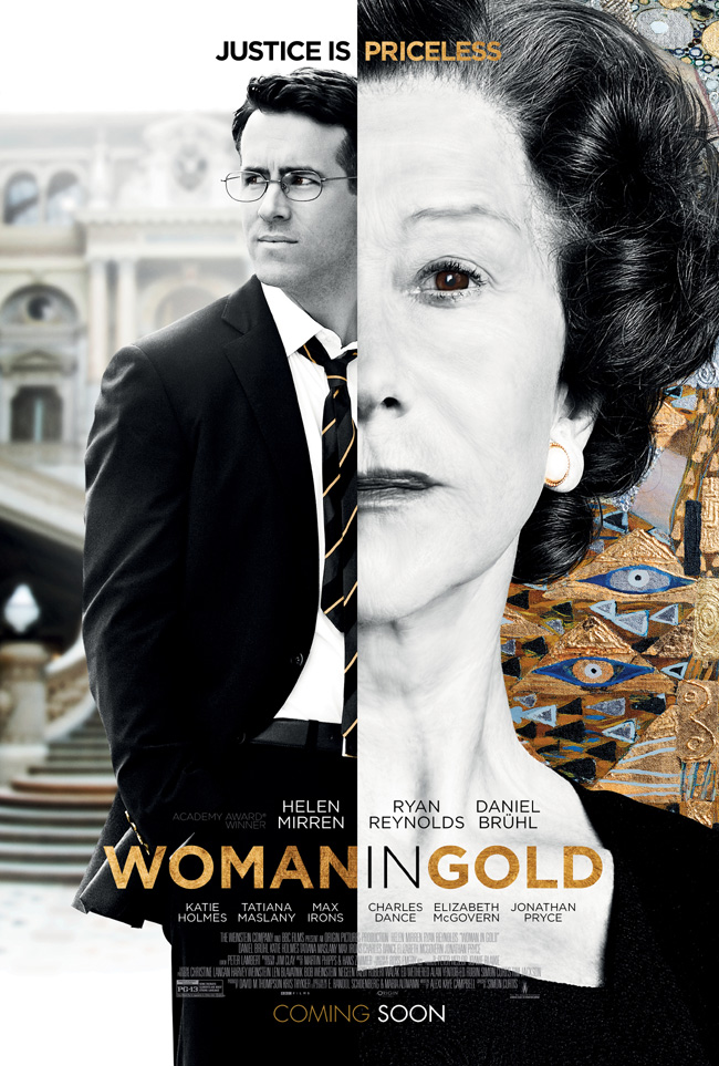 The movie poster for Woman in Gold starring Ryan Reynolds and Helen Mirren