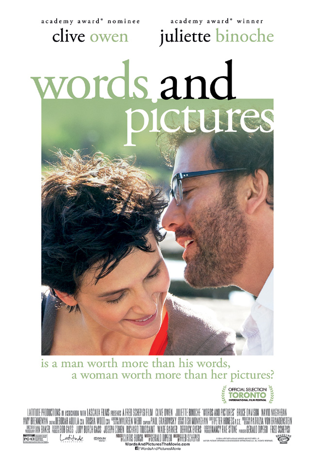 The movie poster for Words and Pictures starring Clive Owen and Juliette Binoche