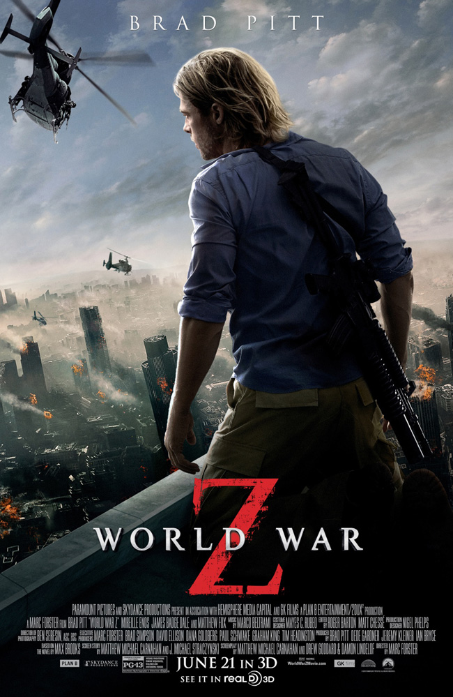 The movie poster for World War Z starring Brad Pitt
