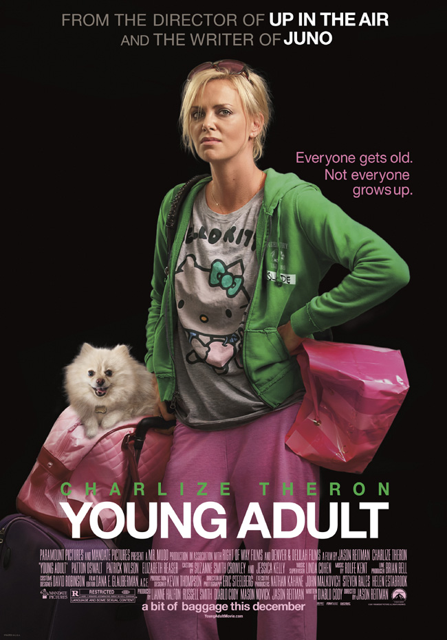 The movie poster for Young Adult starring Charlize Theron, Patrick Wilson and Patton Oswalt