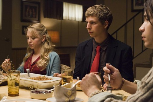 Michael Cera (right) and Portia Doubleday (left) in Youth in Revolt