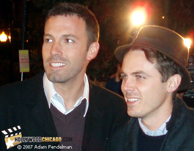 Ben Affleck (left) and brother Casey Affleck on Oct. 10, 2007 at the Chicago International Film Festival premiere of Gone Baby Gone; Photo by Adam Fendelman of HollywoodChicago.com
