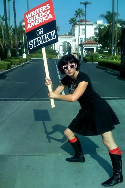 Diablo Cody on strike on Nov. 7, 2007 in Los Angeles