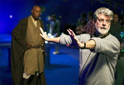 Samuel L. Jackson (left) and George Lucas on the set of Star Wars Episode III: Revenge of the Sith