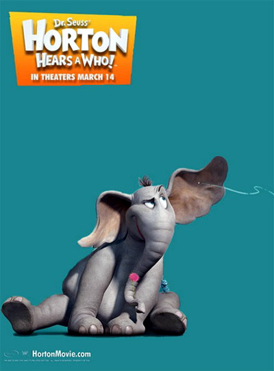 The movie poster for Horton Hears a Who! with Jim Carrey, Steve Carell, Jonah Hill, Seth Rogen, Will Arnett, Isla Fisher, Dane Cook, Jaime Pressly and Carol Burnett