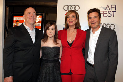 From left to right: J.K. Simmons, Ellen Page, Allison Janney and Jason Bateman for Juno on Nov. 5, 2007
